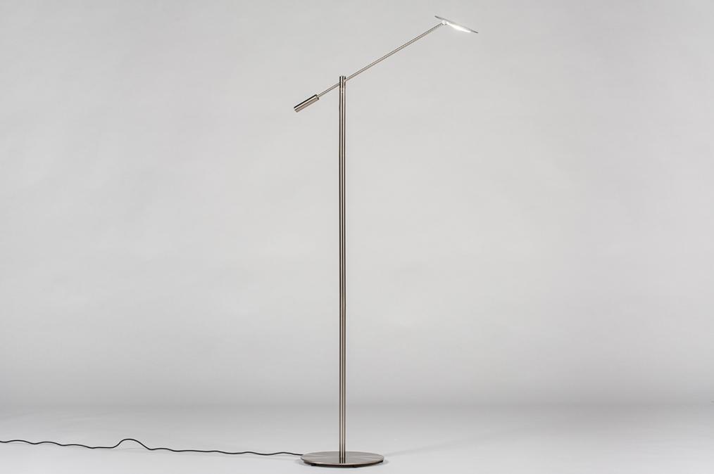 Vloerlamp 13893: design, modern, staal rvs, staalgrijs #0