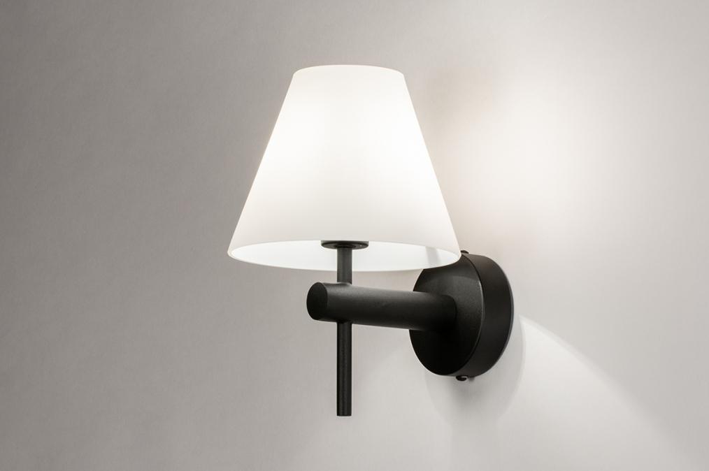 Wandlamp 13937: modern, glas, wit opaalglas, metaal #0