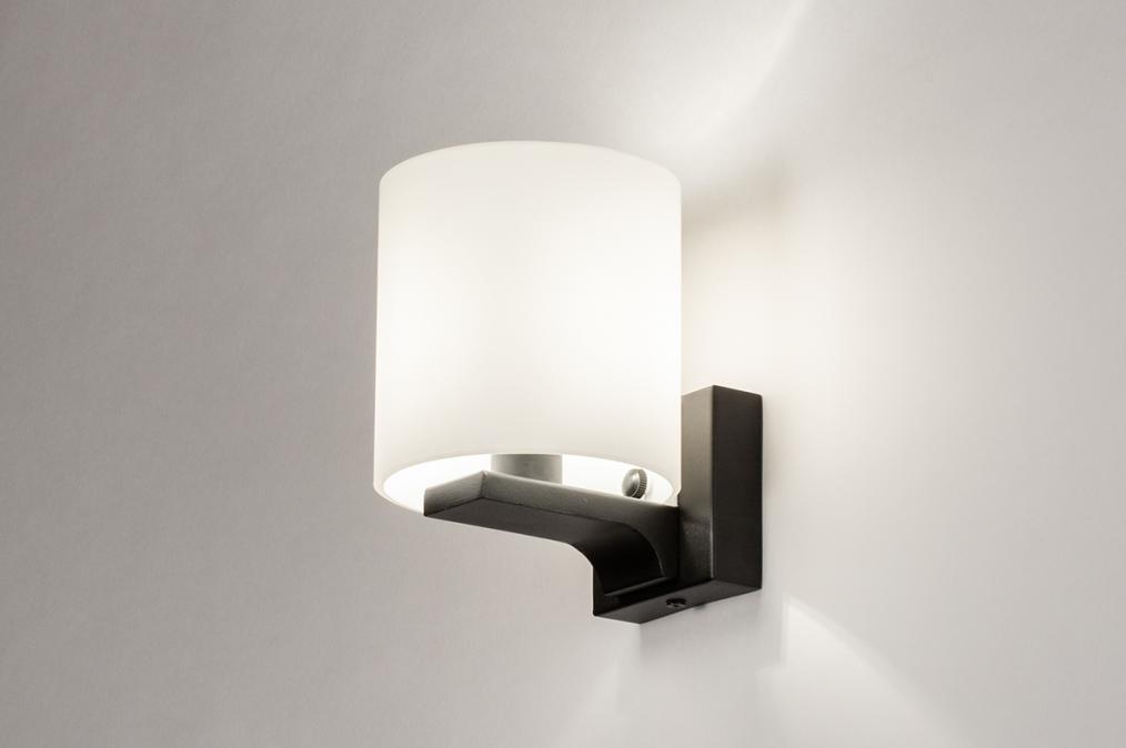 Wandlamp 13938: modern, glas, wit opaalglas, metaal #0