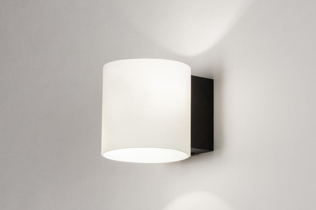 Wandlamp 13939: modern, glas, wit opaalglas, metaal #0