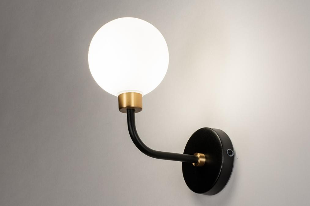 Wandlamp 13940: klassiek, eigentijds klassiek, art deco, glas #0