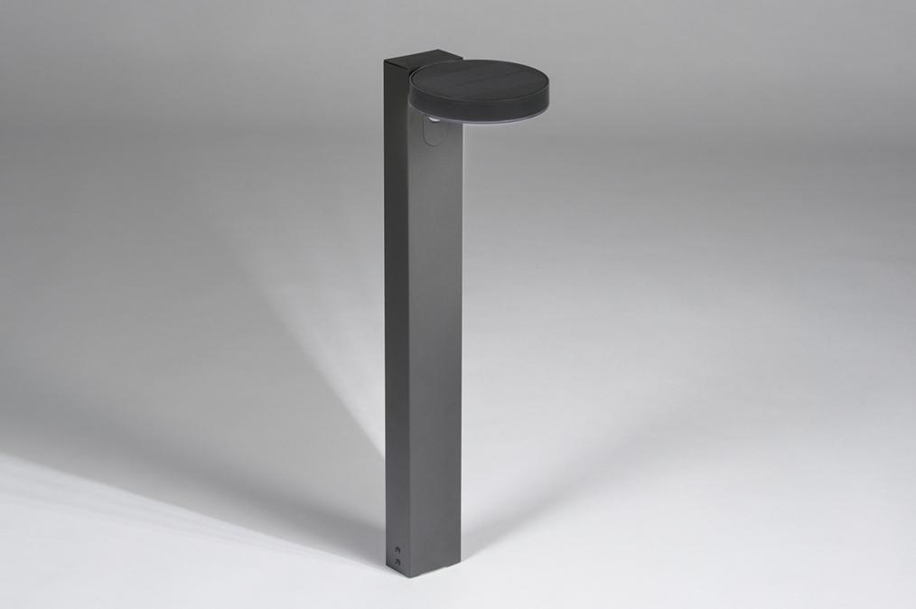 Buitenlamp 13953: modern, staal rvs, antraciet donkergrijs, langwerpig #0
