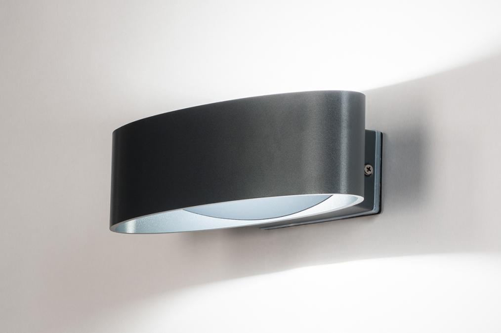 Buitenlamp 13968: modern, kunststof, grijs, antraciet donkergrijs #0