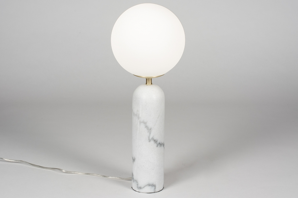 Tafellamp 13988: design, modern, glas, wit opaalglas #0