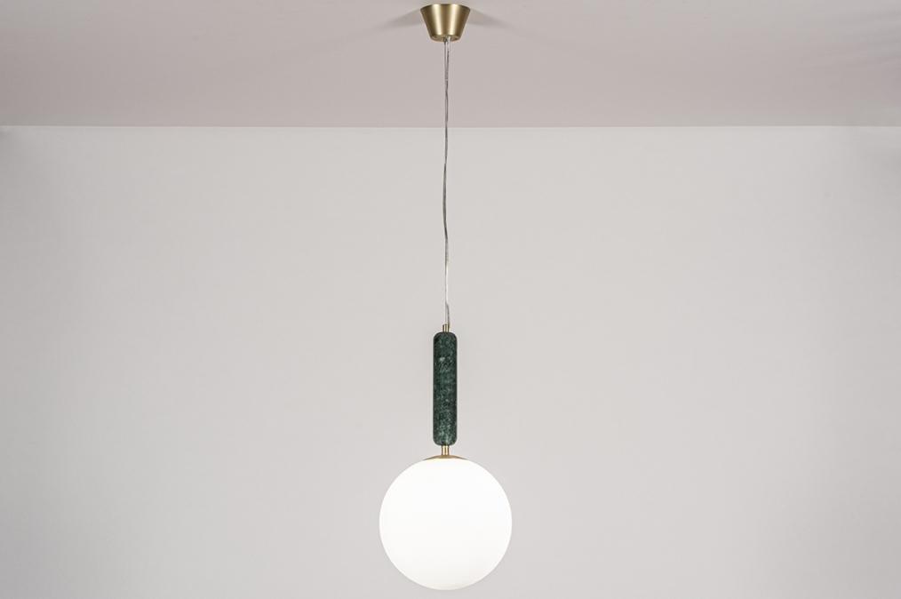 Hanglamp 13994: design, art deco, glas, wit opaalglas #0