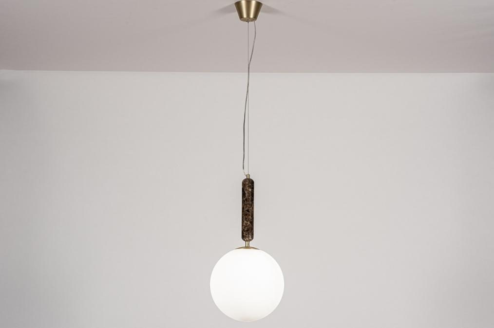 Hanglamp 13995: design, art deco, glas, wit opaalglas #0
