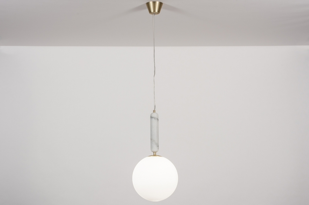 Hanglamp 13996: design, art deco, glas, wit opaalglas #0