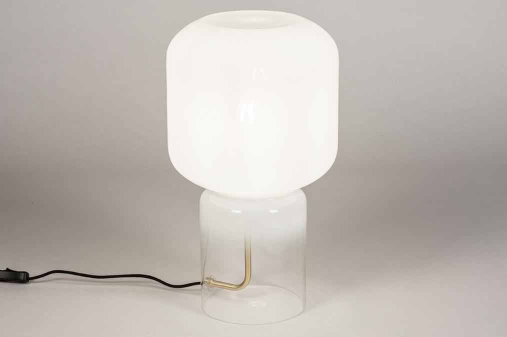 Tafellamp 13998: design, modern, glas, wit opaalglas #0