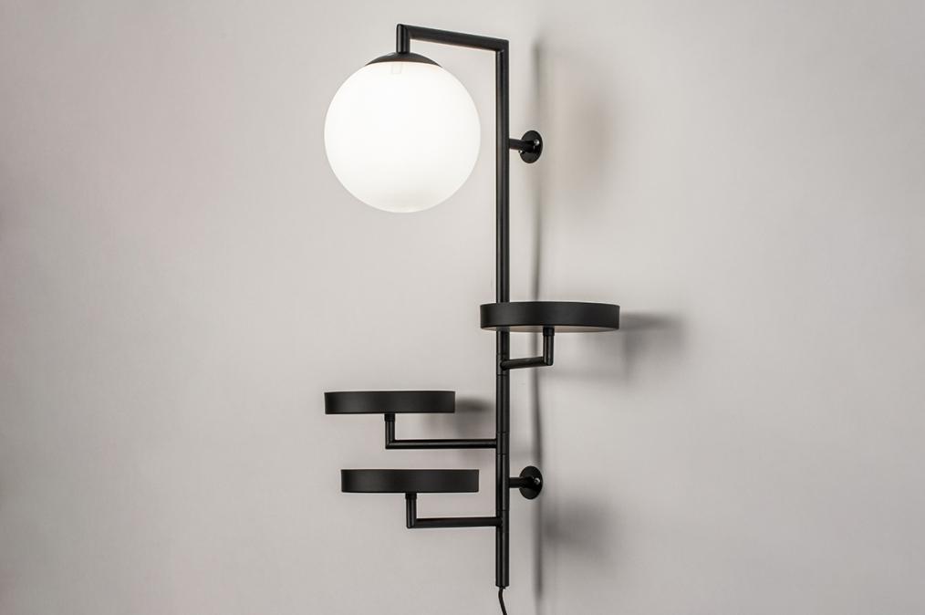 Wandlamp 14008: modern, glas, wit opaalglas, metaal #0
