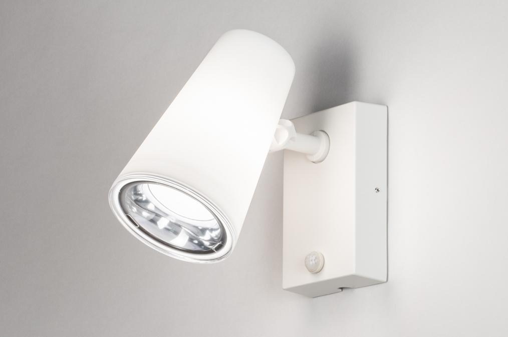 Buitenlamp 14013: modern, staal rvs, kunststof, wit #0