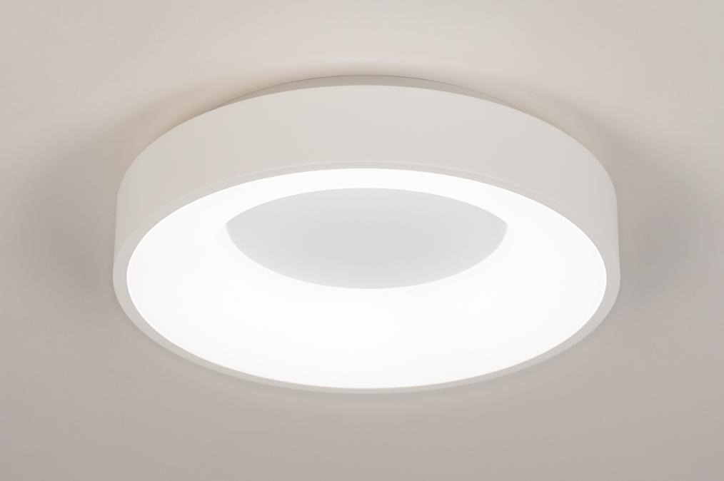Plafondlamp 14096: modern, kunststof, metaal, wit #0
