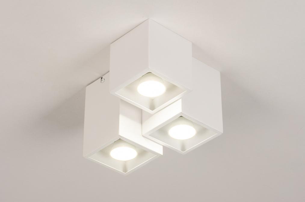 Plafondlamp 14141: modern, metaal, wit, mat #0