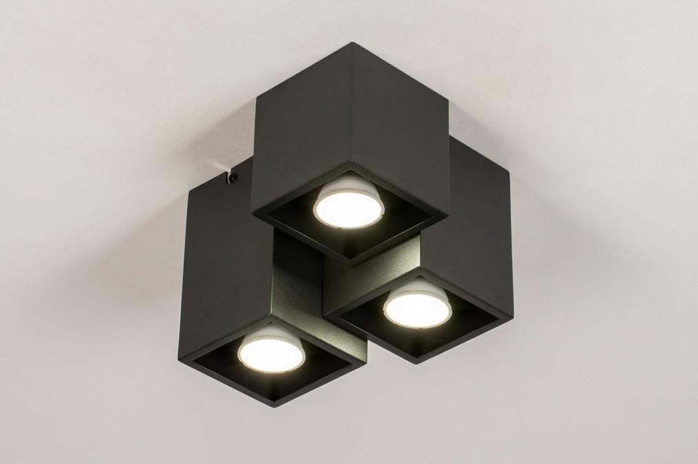 Plafondlamp 14142: modern, metaal, zwart, mat #0
