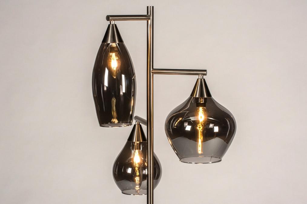 Vloerlamp 14152: modern, eigentijds klassiek, glas, staal rvs #0