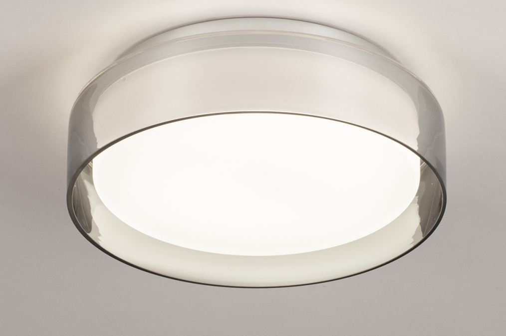 Plafondlamp 14167: modern, eigentijds klassiek, glas, wit opaalglas #0