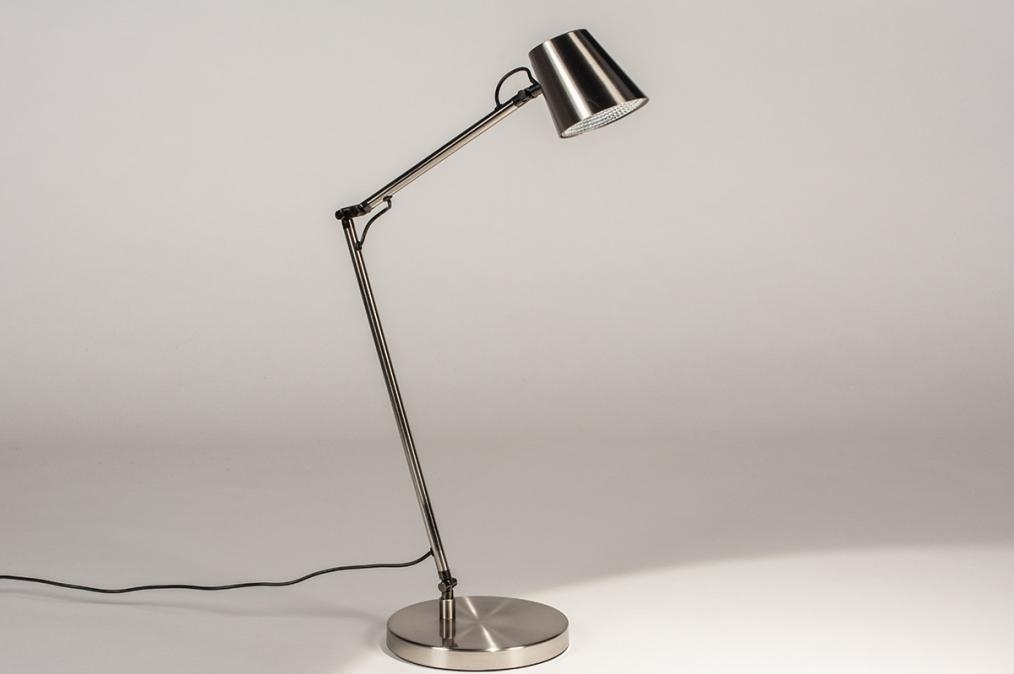 Tafellamp 14179: modern, staal rvs, metaal, staalgrijs #0