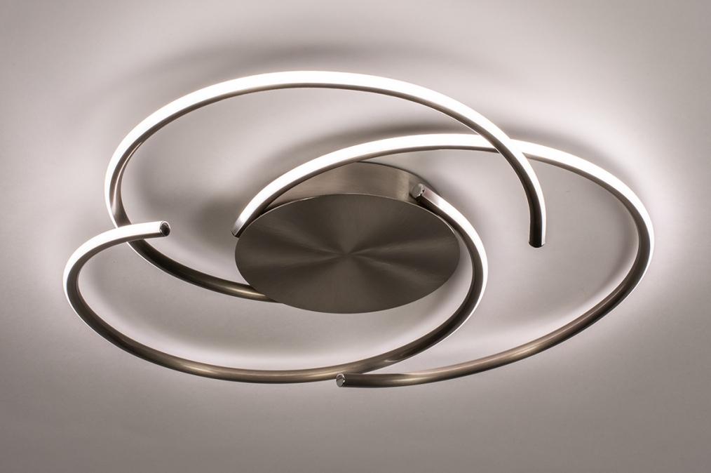 Plafondlamp 14194: modern, eigentijds klassiek, staal rvs, metaal #0