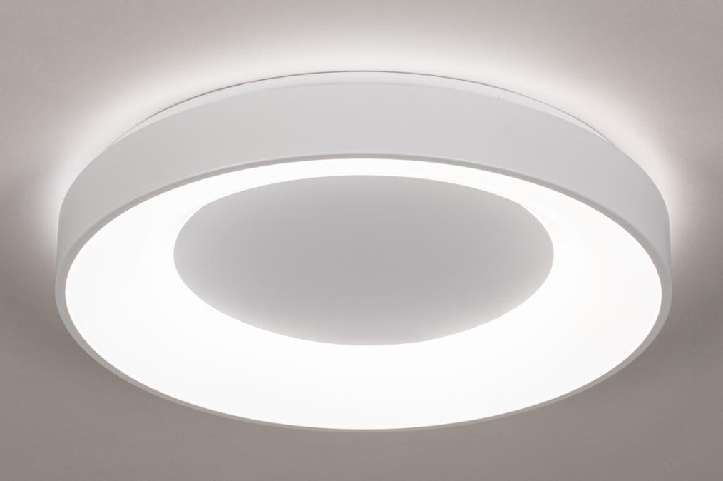 Plafondlamp 14196: modern, kunststof, metaal, wit #0