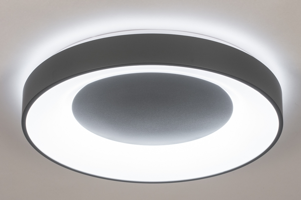 Plafondlamp 14197: modern, kunststof, metaal, antraciet donkergrijs #0