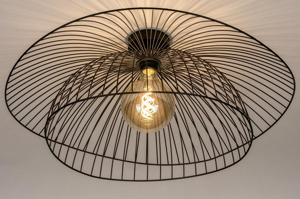 Plafondlamp 14235: modern, metaal, zwart, mat #0