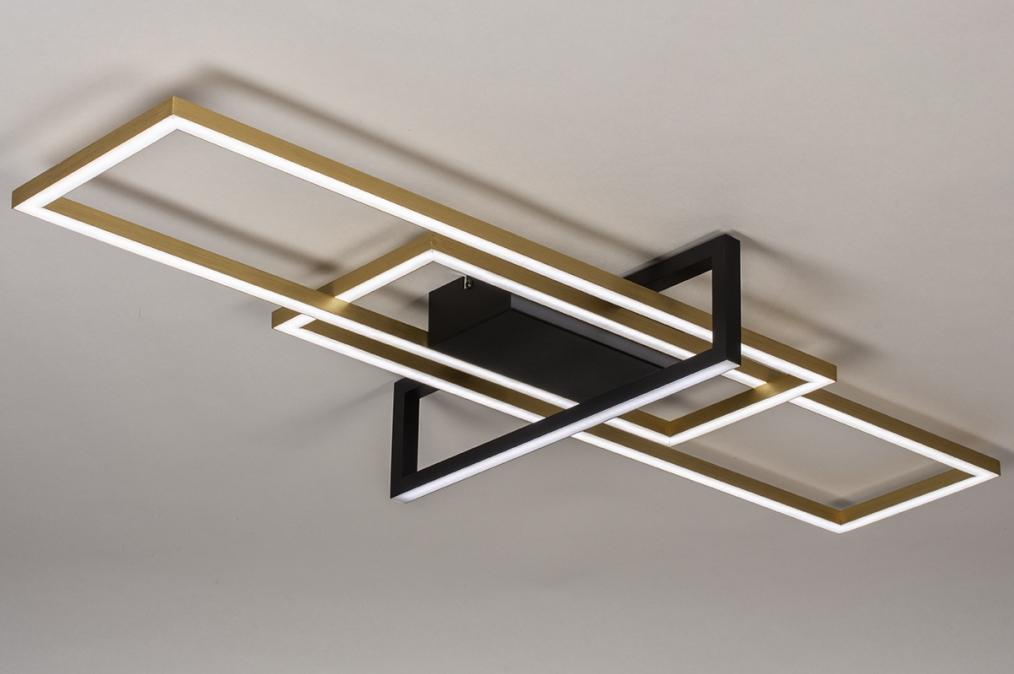 Plafondlamp 14258: modern, art deco, messing, geschuurd #0