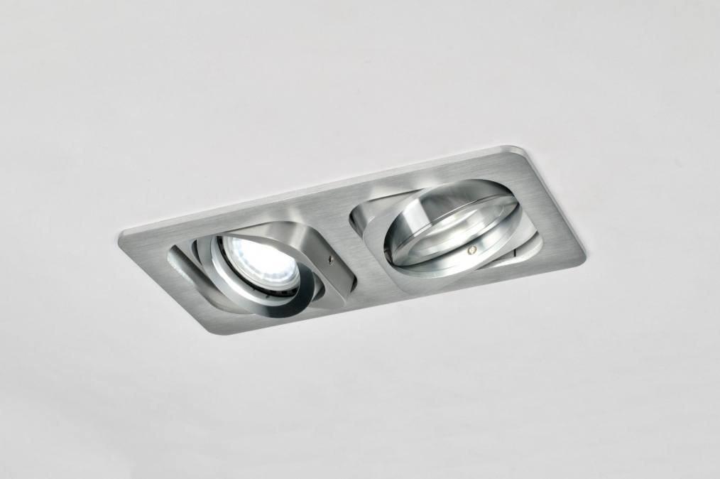Inbouwspot 30031: modern, geschuurd aluminium, metaal, rechthoekig #0