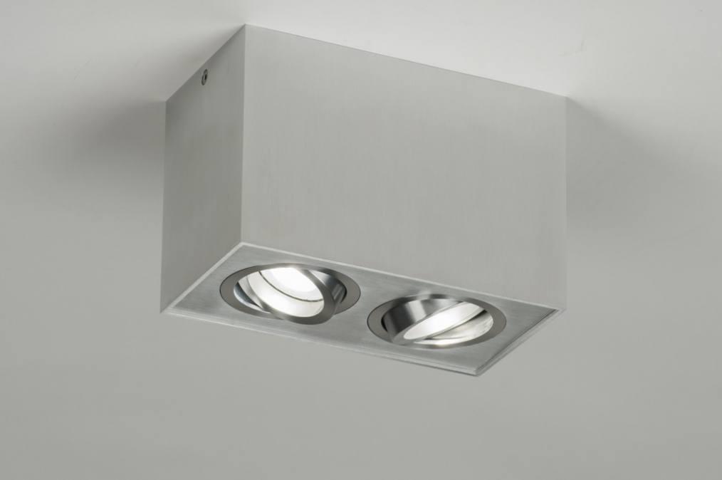 Plafonnier 30048 moderne design aluminium poli for Plafonnier rectangulaire design