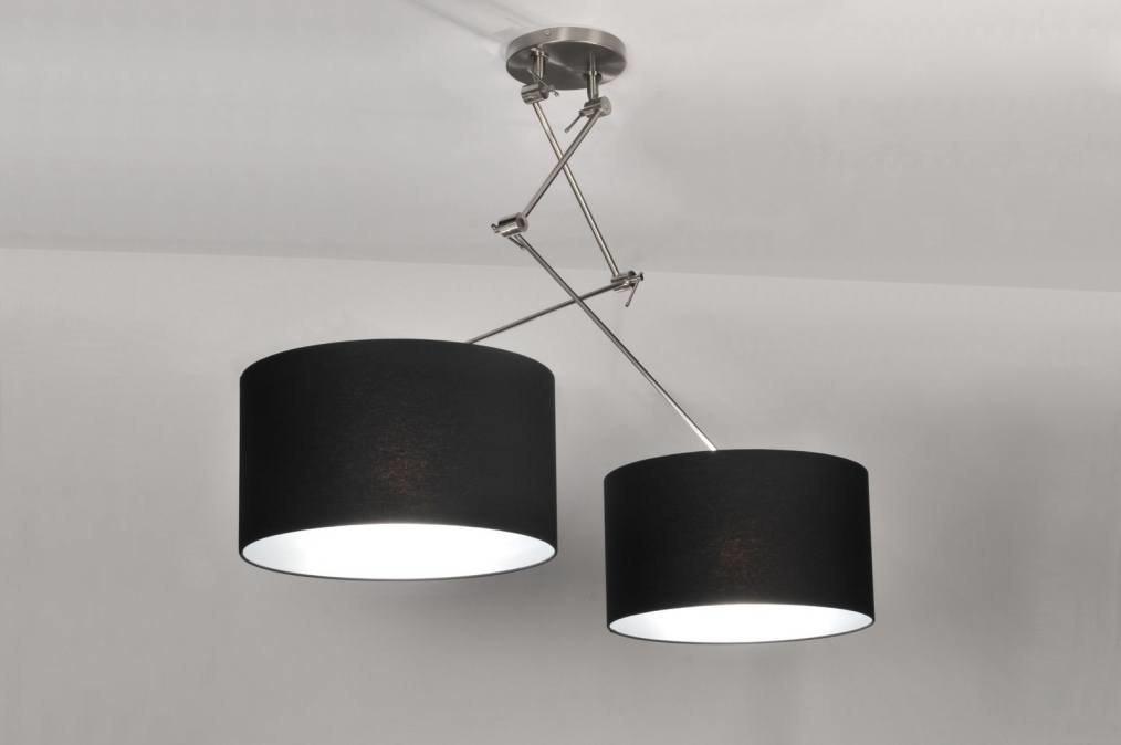 pendelleuchte 30097 modern schwarz stoff rund