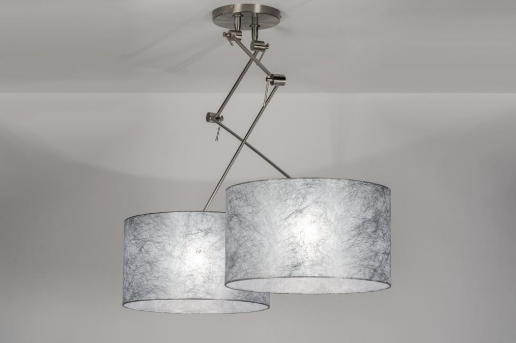 Hanglamp 30100: modern, stof, zilvergrijs, rond #0