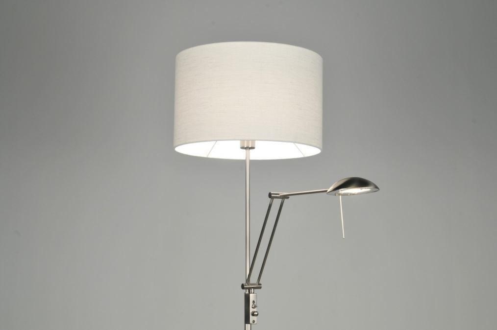 Vloerlamp 30104: modern, eigentijds klassiek, wit, staal rvs #0