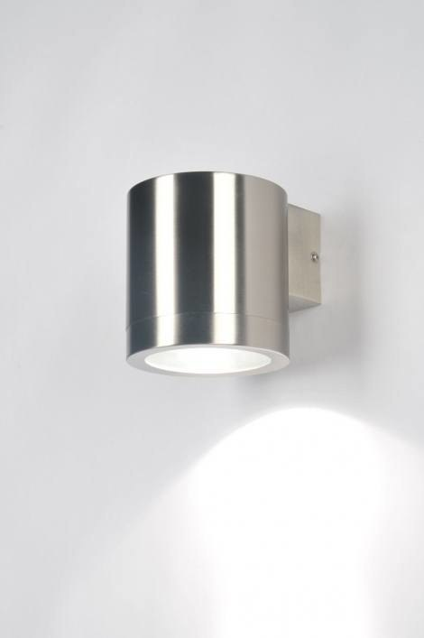 Wandlamp 30107: modern, metaal, staal rvs, rond #0