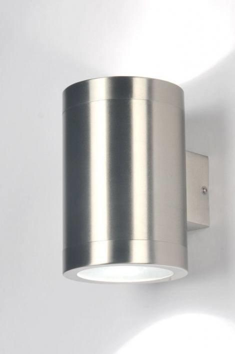 Wandlamp 30108: modern, staal rvs, metaal, rond #0