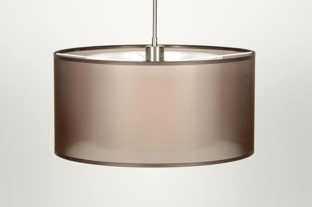 pendelleuchte 30135 modern braun stoff rund. Black Bedroom Furniture Sets. Home Design Ideas