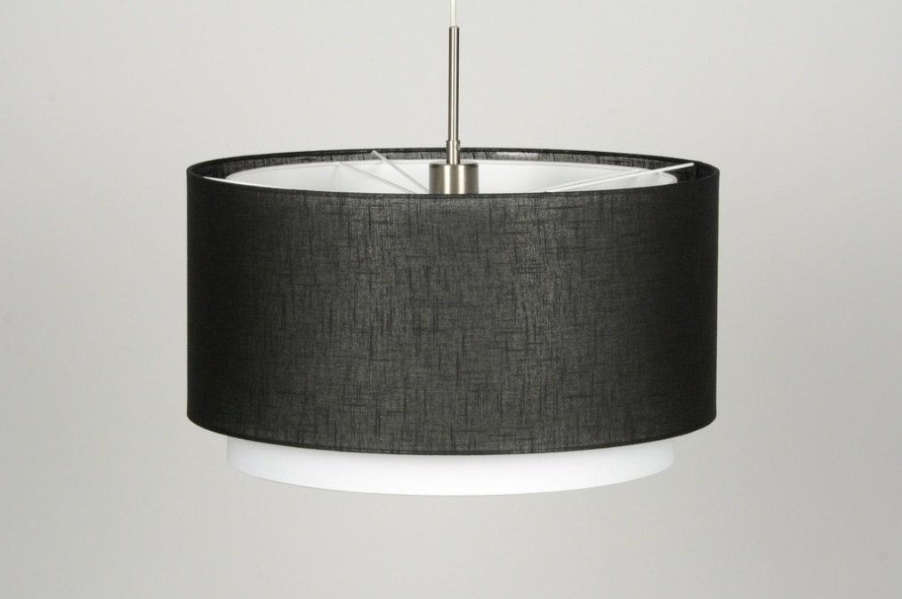 pendelleuchte 30142 modern schwarz stoff rund. Black Bedroom Furniture Sets. Home Design Ideas
