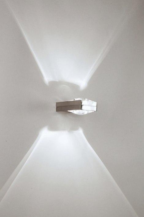 Wandlamp 30205: design, modern, staal rvs, rechthoekig #0