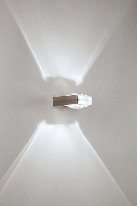 wandlamp 30205 modern design staal rvs rechthoekig. Black Bedroom Furniture Sets. Home Design Ideas