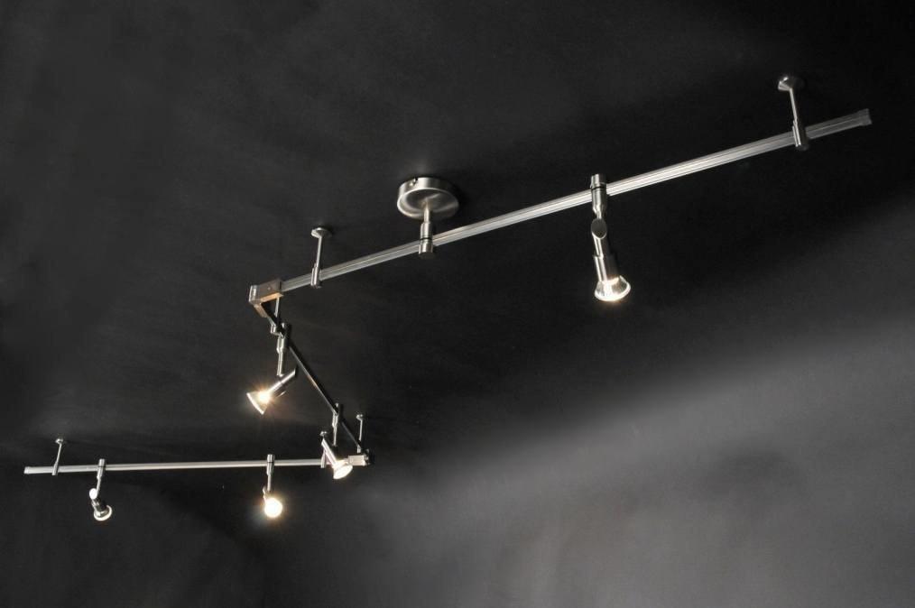 Plafondlamp 30229: modern, metaal, staal rvs, langwerpig #0
