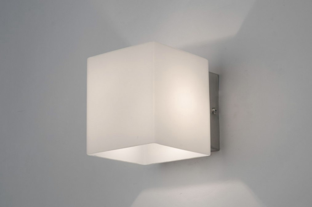 Wall lamp 30243: modern, glass, white opal glass, rectangular #0