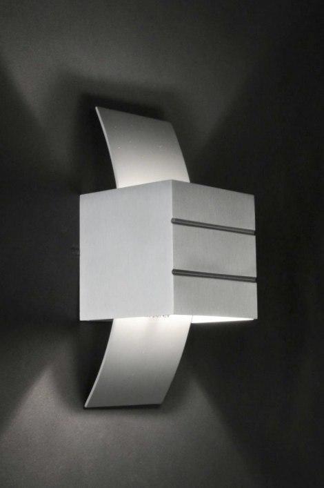 Wall lamp 30336: designer, modern, sanded aluminium, metal #0