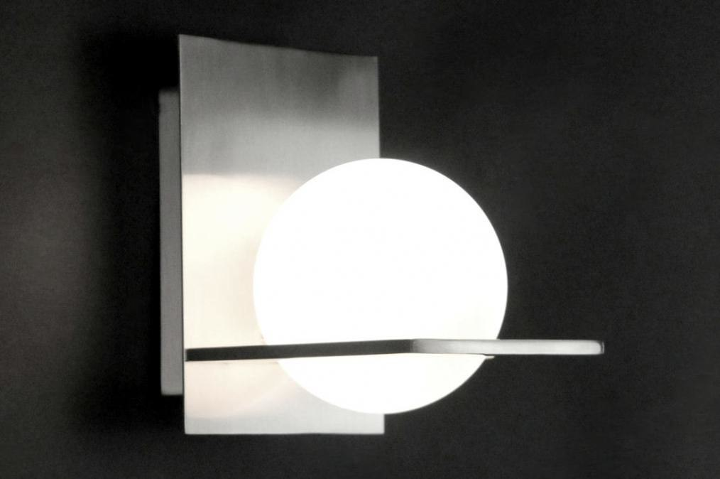 Wall lamp 30345: modern, glass, white opal glass, stainless steel #0
