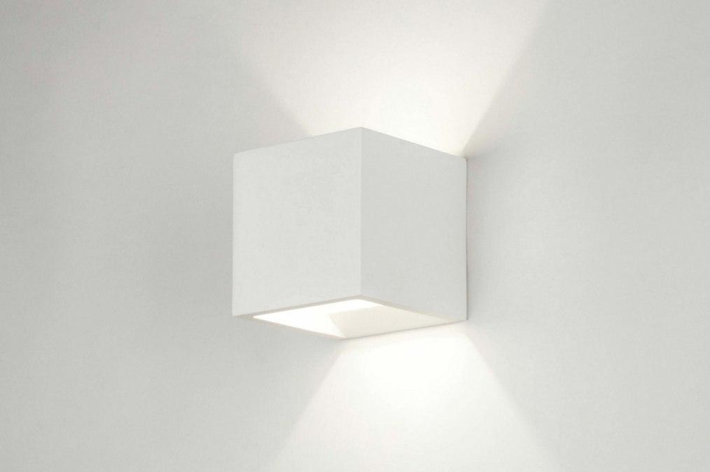 Wandlamp 30358: modern, landelijk, rustiek, wit #0