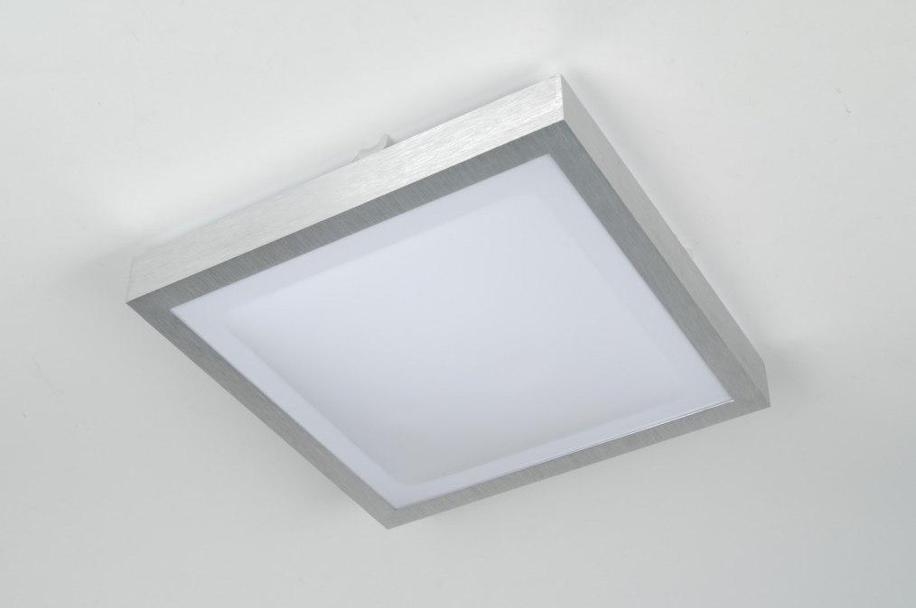 Plafondlamp 30368 modern aluminium wit aluminium for Badkamerverlichting led