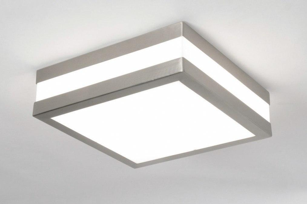 Plafondlamp 30384: modern, kunststof, polycarbonaat slagvast, vierkant #0