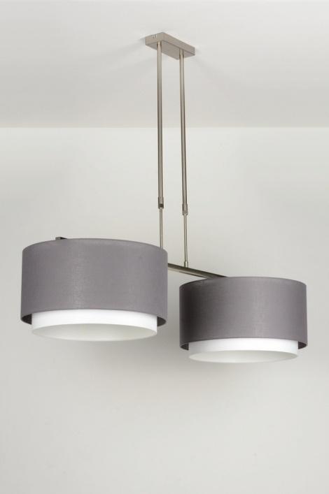 pendelleuchte 30410 laendlich rustikal modern stoff grau. Black Bedroom Furniture Sets. Home Design Ideas