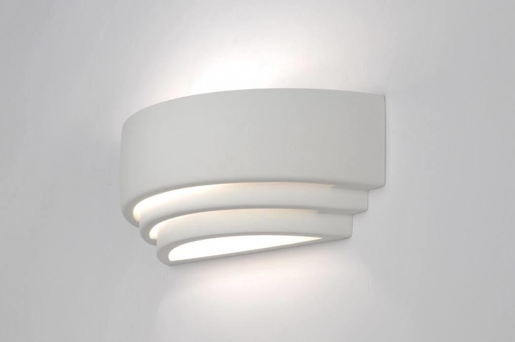 Wandlamp 30427: modern, wit, keramiek, rechthoekig #0
