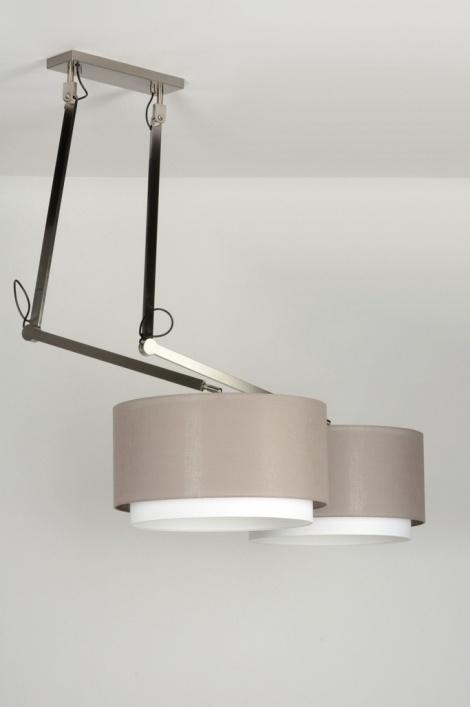 pendelleuchte 30508 modern design taupe stoff. Black Bedroom Furniture Sets. Home Design Ideas