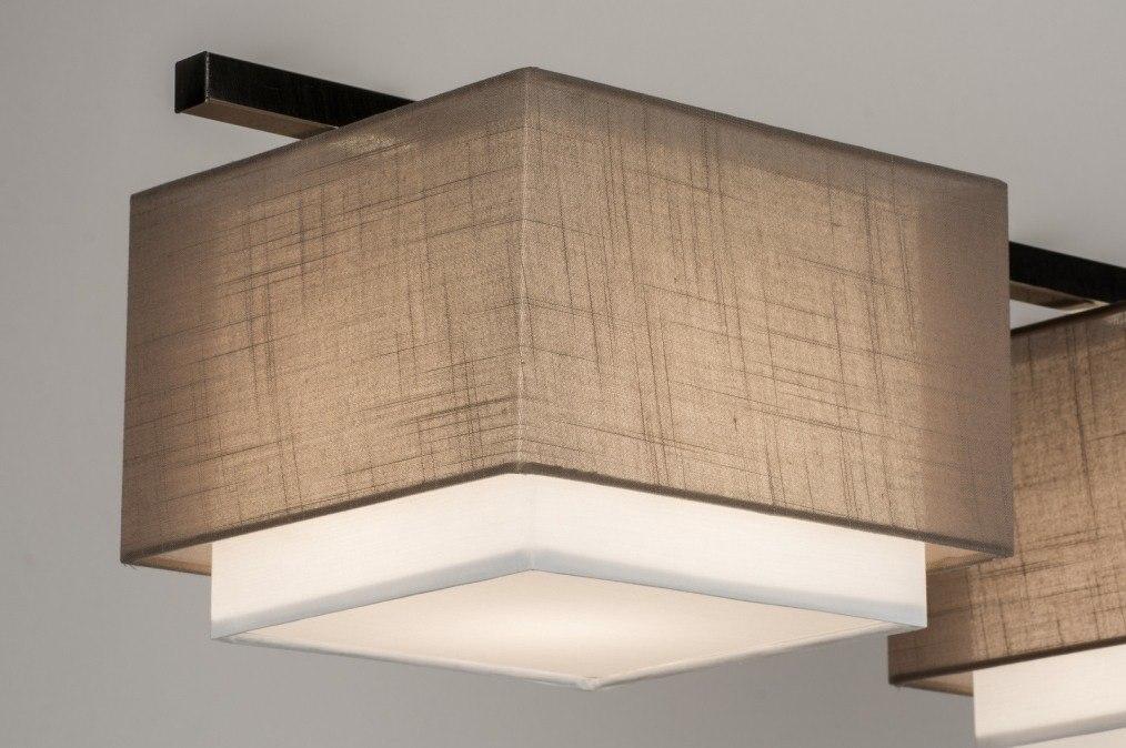 pendelleuchte 30616 modern taupe stoff viereckig. Black Bedroom Furniture Sets. Home Design Ideas