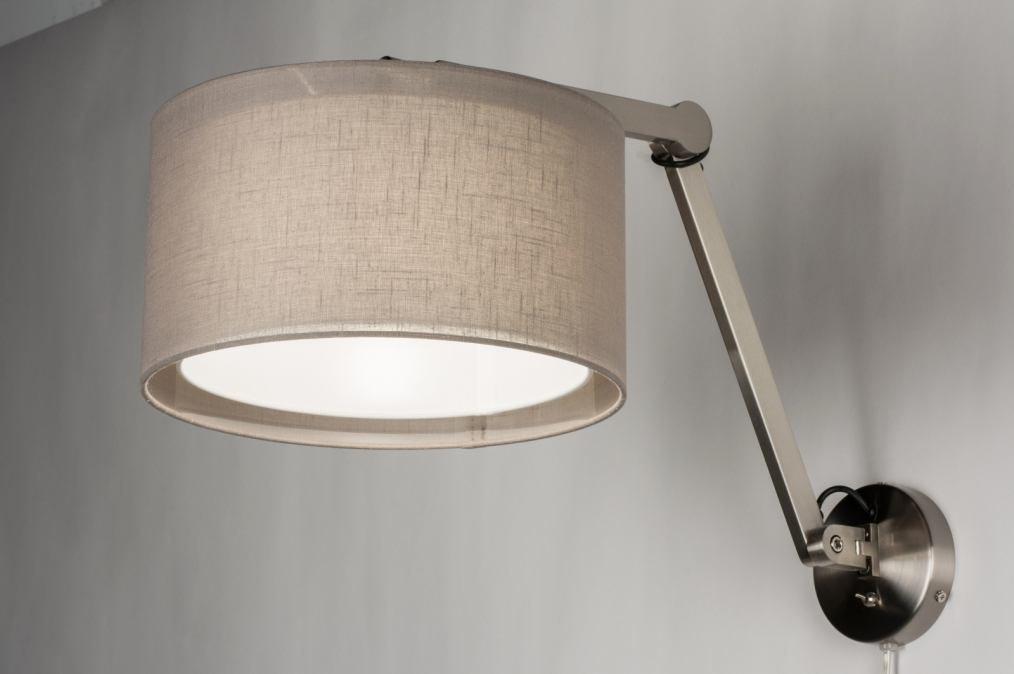 Wandlamp 30618: modern, eigentijds klassiek, stof, wit #0