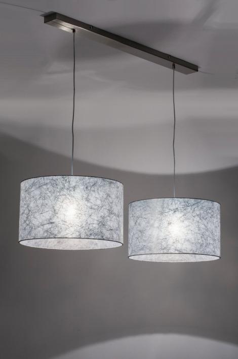 pendelleuchte 30624 modern grau silber stoff. Black Bedroom Furniture Sets. Home Design Ideas