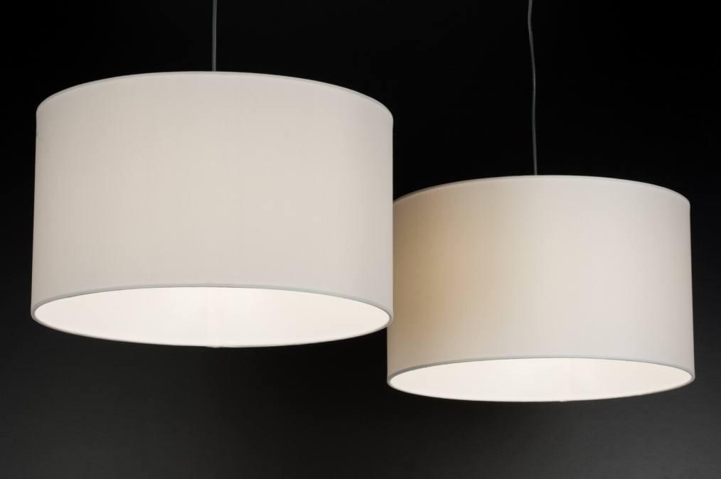 pendelleuchte 30627 modern weiss stoff rund. Black Bedroom Furniture Sets. Home Design Ideas